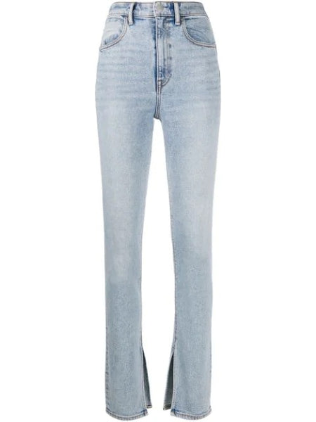 STOVEPIPE DIPPED BACK JEANS PEBBLE BLEACH PEB