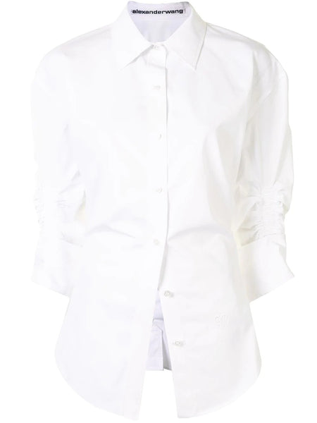 CINCHED WAIST BUTTON DOWN SHIRT WITH RUCHED SLEEVE