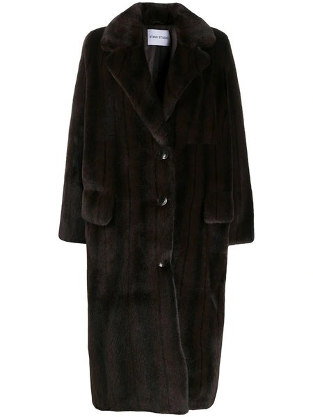 THERESA OVERSIZED FAUX FUR COAT BRN