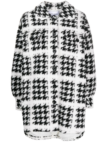SABI HOUNDSTOOTH BUTTON UP KINTTED COAT WHT