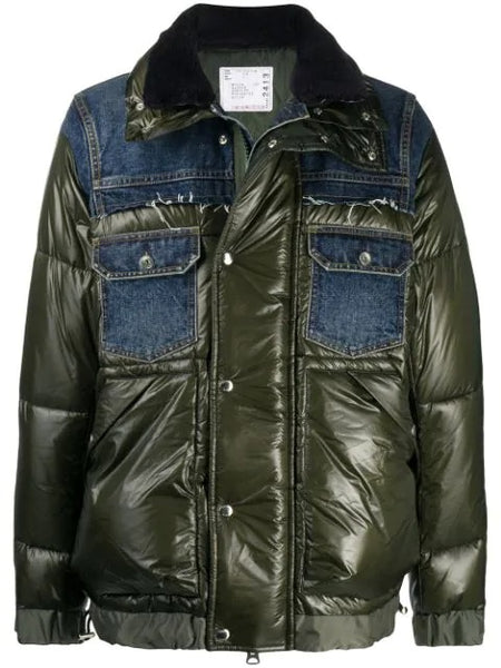 PADDED JACKET WITH DENIM DETAILS 412