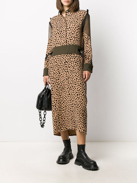 LEOPARD DOT SHEER PANEL DRESS