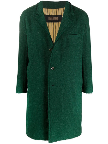 COLTON WOOL SINGLE BREASTED COAT GRN