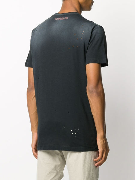 CATEN PRINTED COTTON T-SHIRT BLK