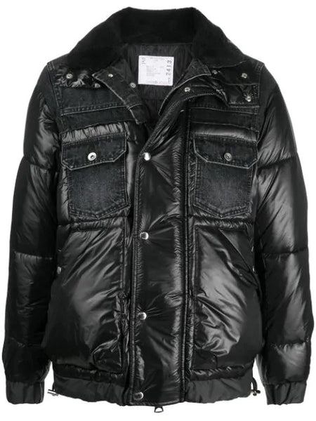 PADDED JACKET WITH DENIM DETAILS BLK