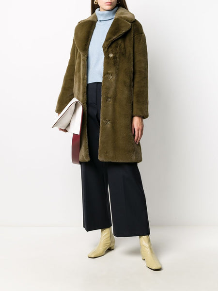 CAMILE COCOON FAUX FUR BREASTED COAT GRN