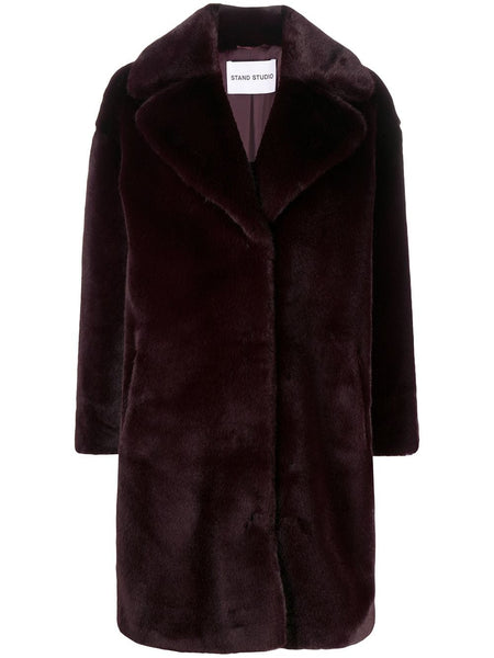 CAMILE COCOON FAUX FUR BREASTED COAT BUR
