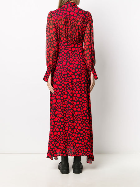 PRINTED RED*BLACK BUBBELS LONG DRESS