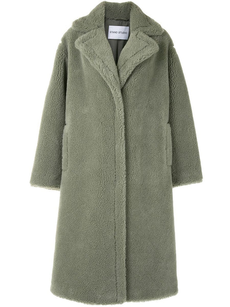MARIA FAUX FUR SHEARLING OVERSIZED COAT GRN