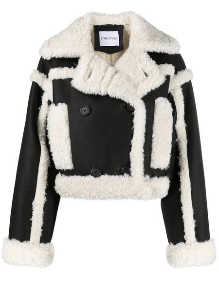 KRISTY SHEARLING TRIM CROP JACKET