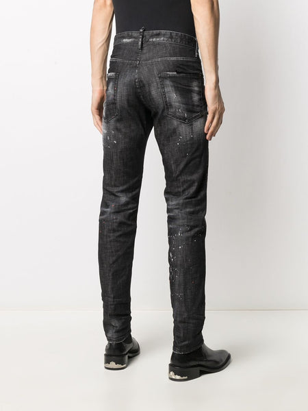 RIPPED STRAIGHT LEG JEANS 900BLK
