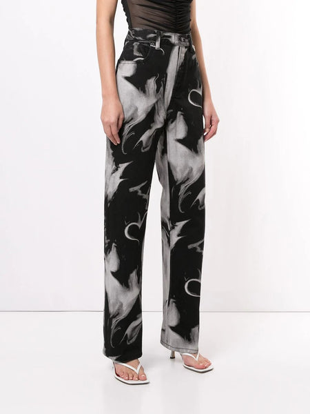 SKATER LONG JEANS PRINTED SMOKE HEART