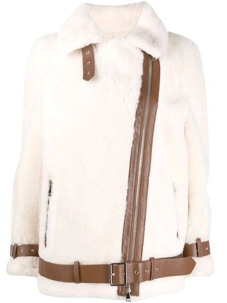 COLLEEN CONTRAST TRIM SHEARLING JACKET OFF