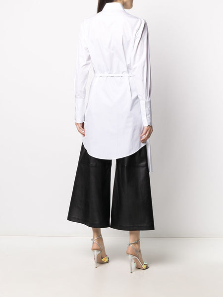 ASYMMETRIC PLEATED SHIRT DRESS WHT BLK
