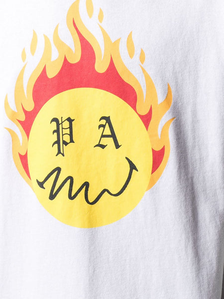 BURNING HEAD CREW NECK TEE WHT YLW