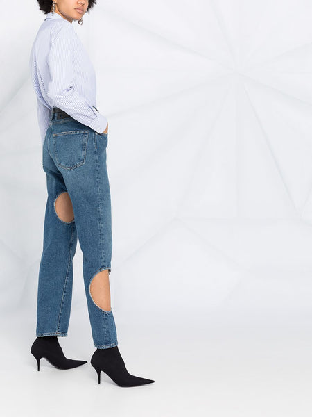 DENIM 5 POCKETS CUT OUT BAGGY JEANS BLU