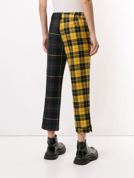 MULTI TARTAN UPSIDE DOWN SKINNY LEG TROUSER