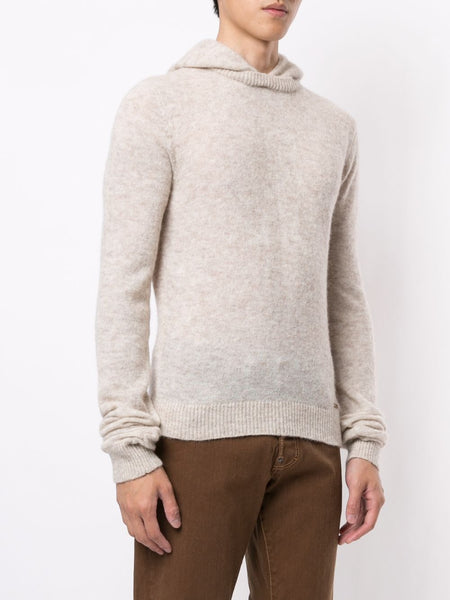 RIBBED KNITTED HOODED JUMPER