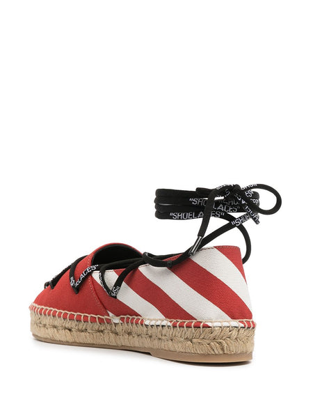LACE UP ESPADRILLES BEG RED