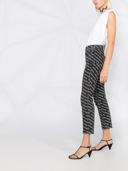 MID RISE LOGO PRINT FLARED TROUSERS
