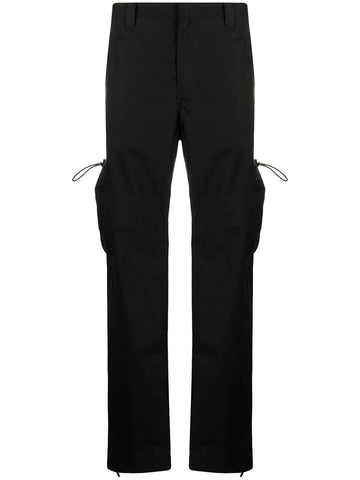 LOGO TECH COTTON STRAIGHT CARGO PANTS BLK