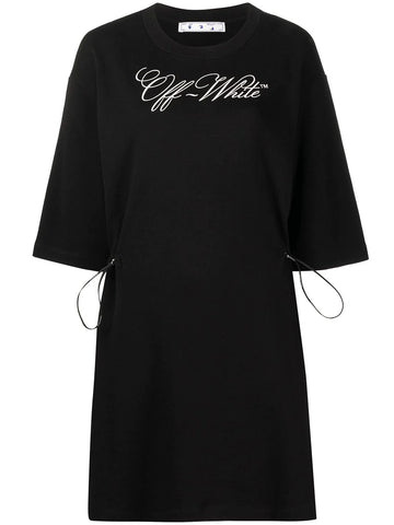 LOGO PRINT T-SHIRT DRESS BLK WHT