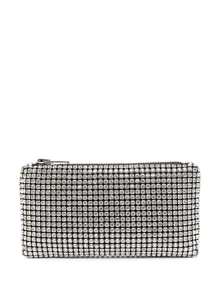 HEIRESS CLUTCH - WHITE RHINESTONE MESH