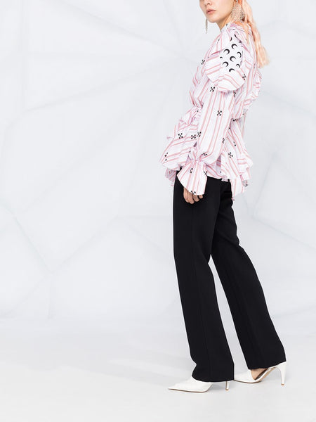 RUFFLE DETAIL V-NECK BLOUSE PNK