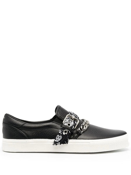 BANDANA CHAIN LIP ON LEATHER LOAFERS