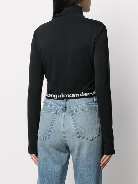 CROPPED TURTLENECKLONG SLEEVE LOGO ELASTIC