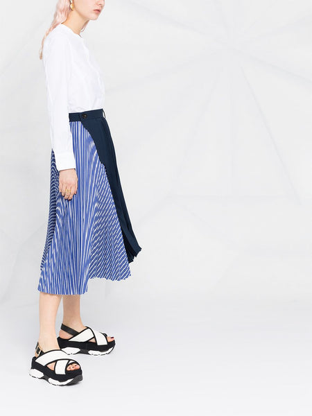 STRIPE PRINT PLEATED SKIRT