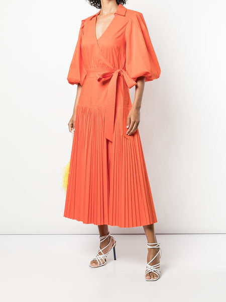 MARNY PLEATED S/S MINI WARP DRESS POP