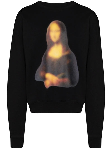 BLURRED MONALISA OVER CREWNECK SWEATSHIRT BLK BLK