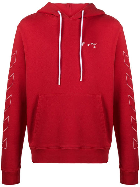 DIAGONALS OW LOGO SLIM HOODIE RED WHT