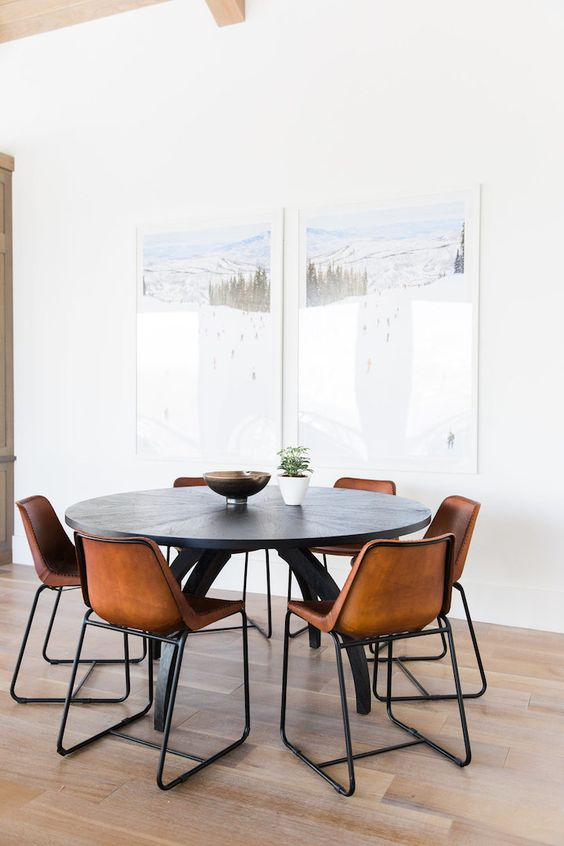 Dining room chairs make the statement here.