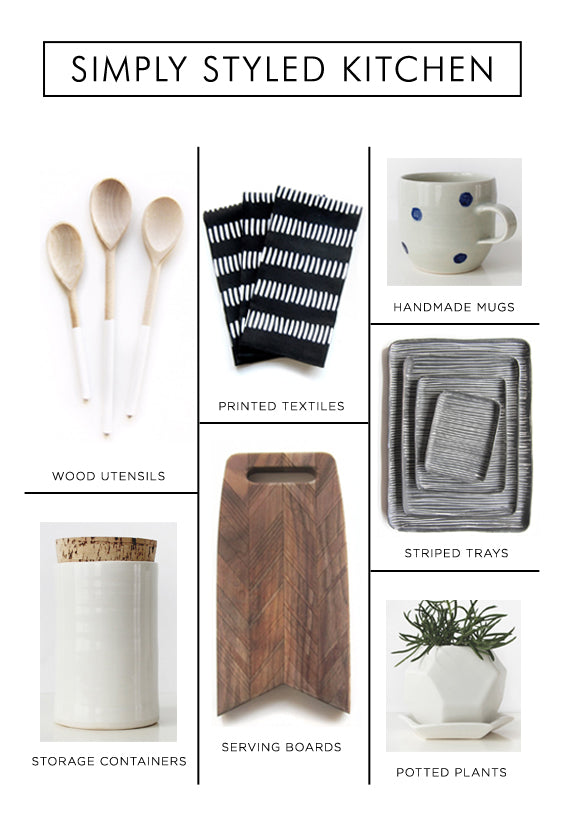 Simple styling ideas for an inviting, modern kitchen. Modern home goods and gifts.