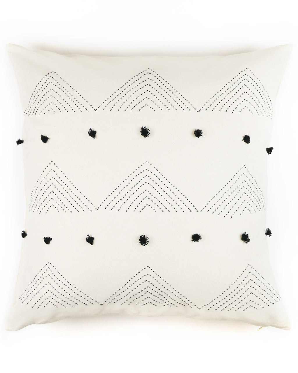 "Embellished Black Triangle Embroidered 22""x22"" Pillow Cover"