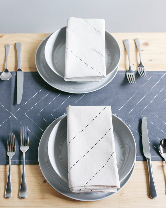 White Arrow Embroidered Table Runner - Anchal