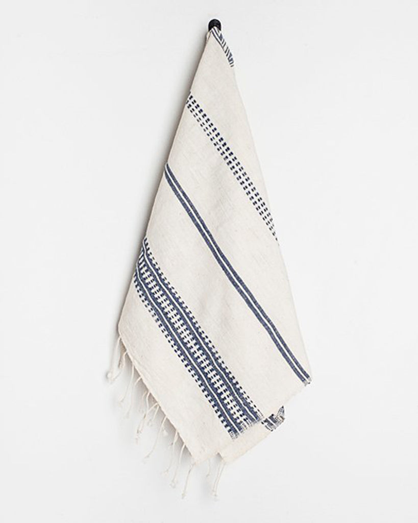 Navy Woven Patterned Hand Towel