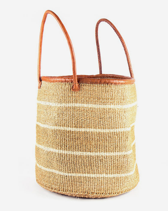 Large White Stripe Sisal Basket - Creative Women