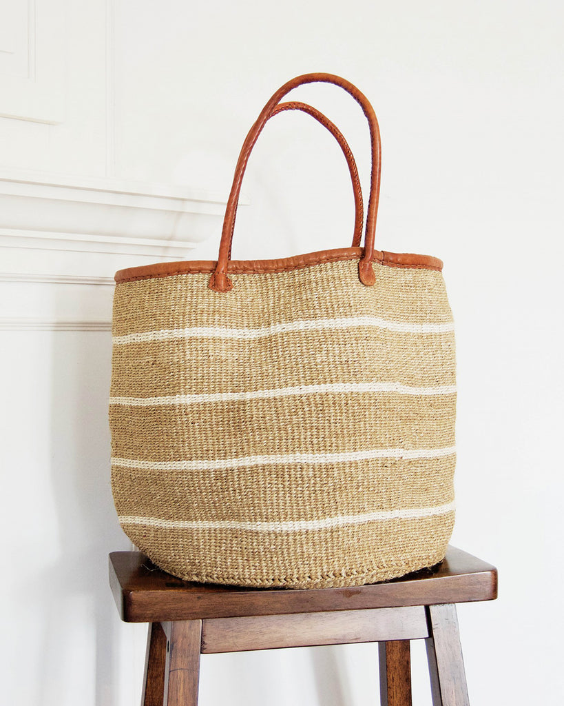 Large White Stripe Sisal Basket | Creative Women