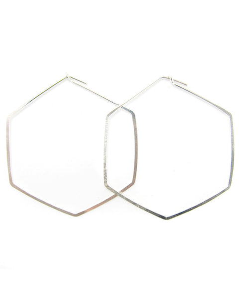 Elaine B. Jewelry Hexagon Hoop Earrings