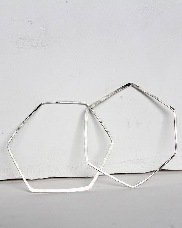 Hexagon Hoop Earrings | Elaine B. Jewelry