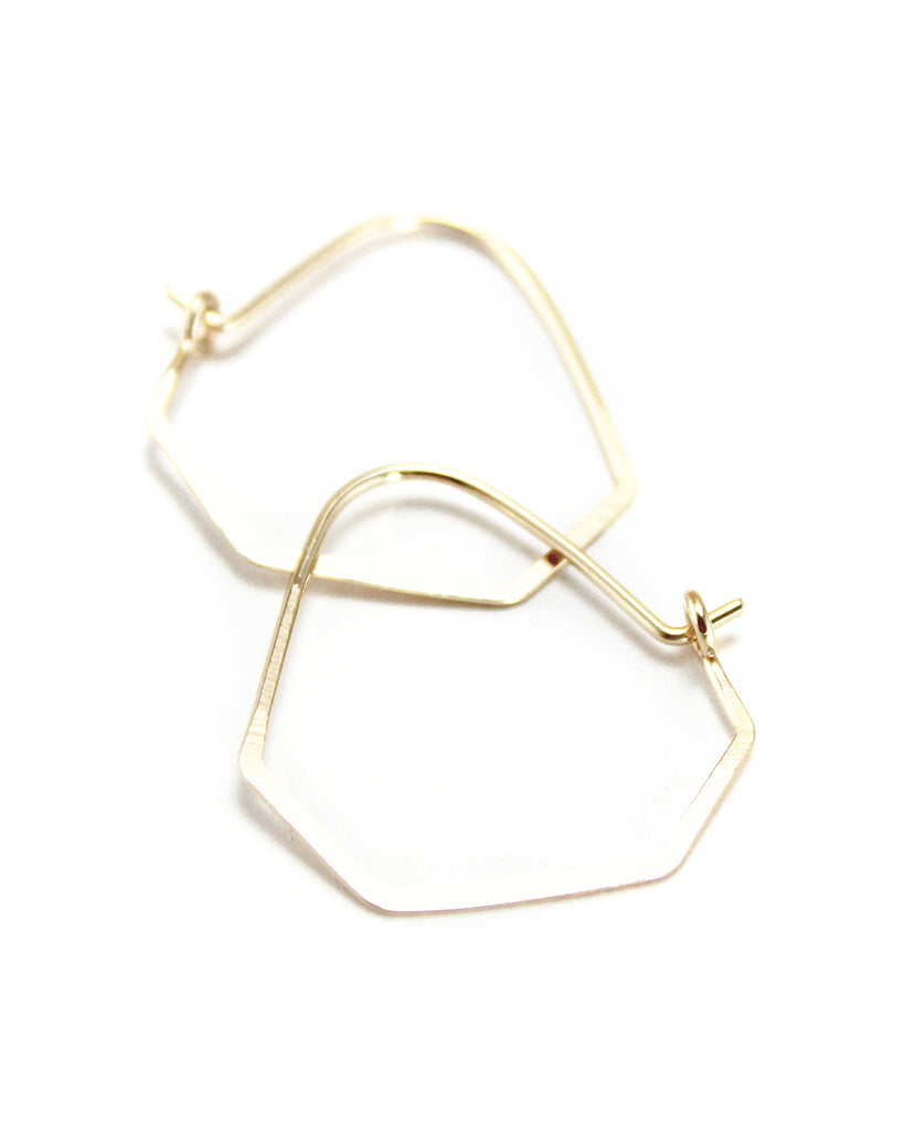 Elaine B. Jewelry Simple Faceted Hoop Earrings