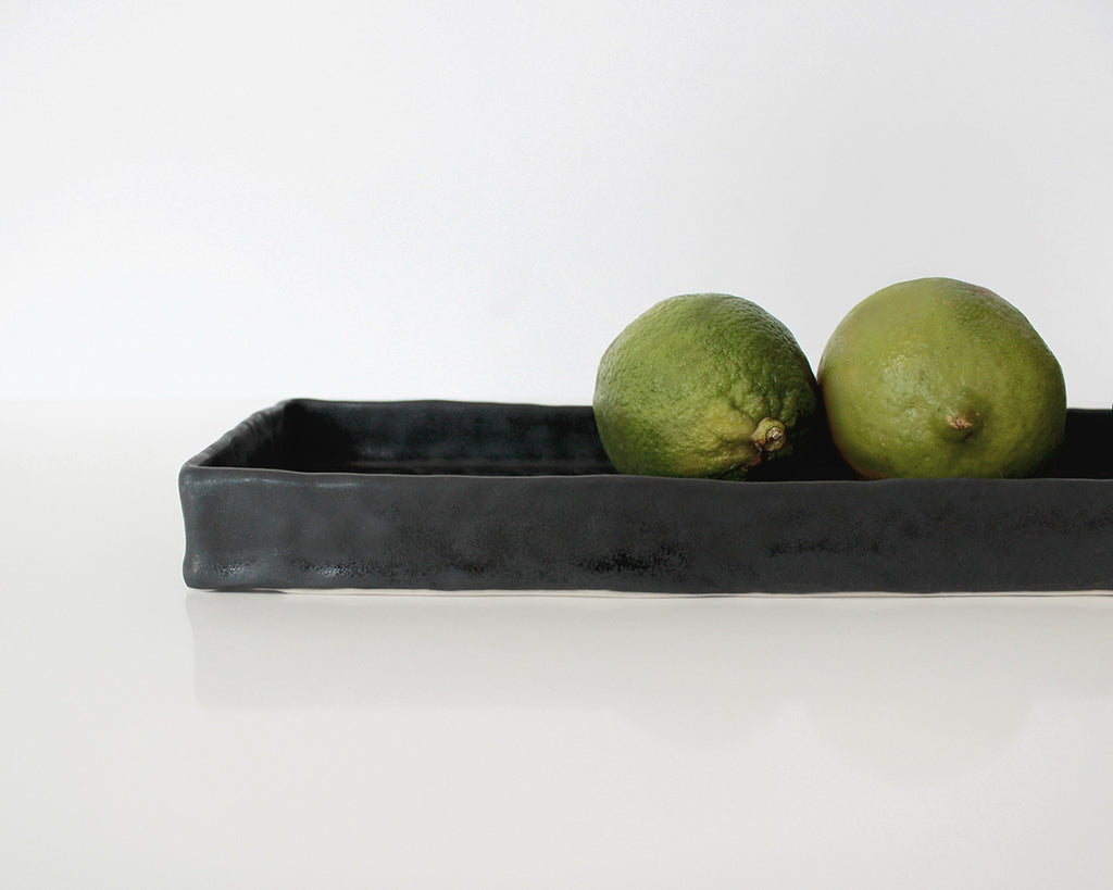 Elizabeth Benotti Dark Charcoal Gray Long Tray
