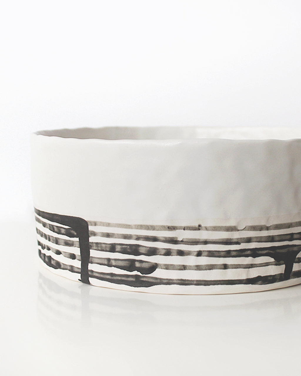White & Black Lines Large Serving Bowl - Elizabeth Benotti