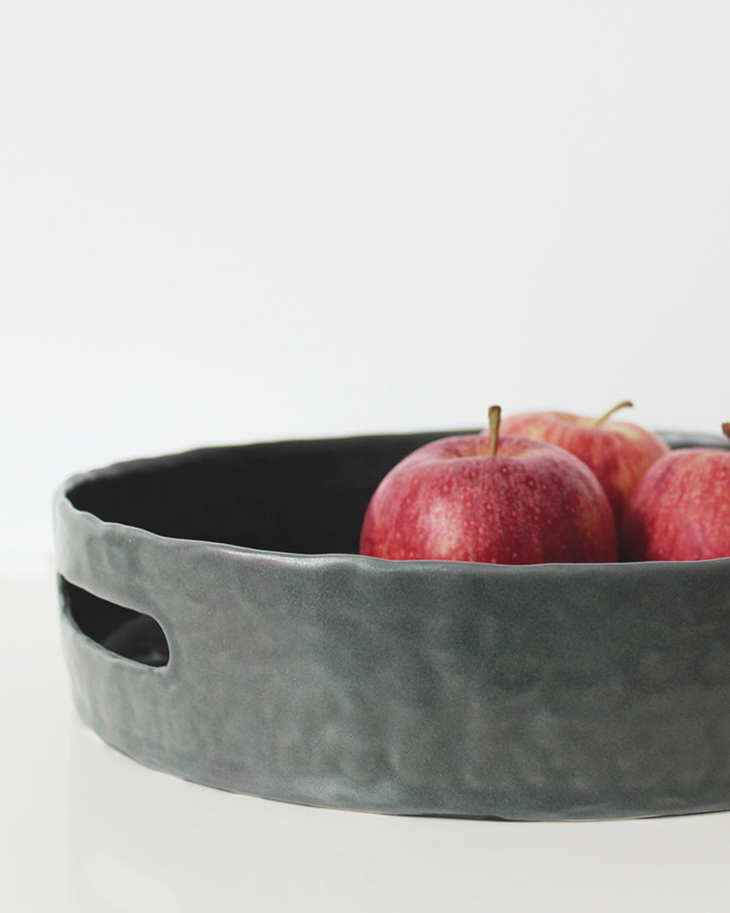 Storm Gray Textured Serving Tray