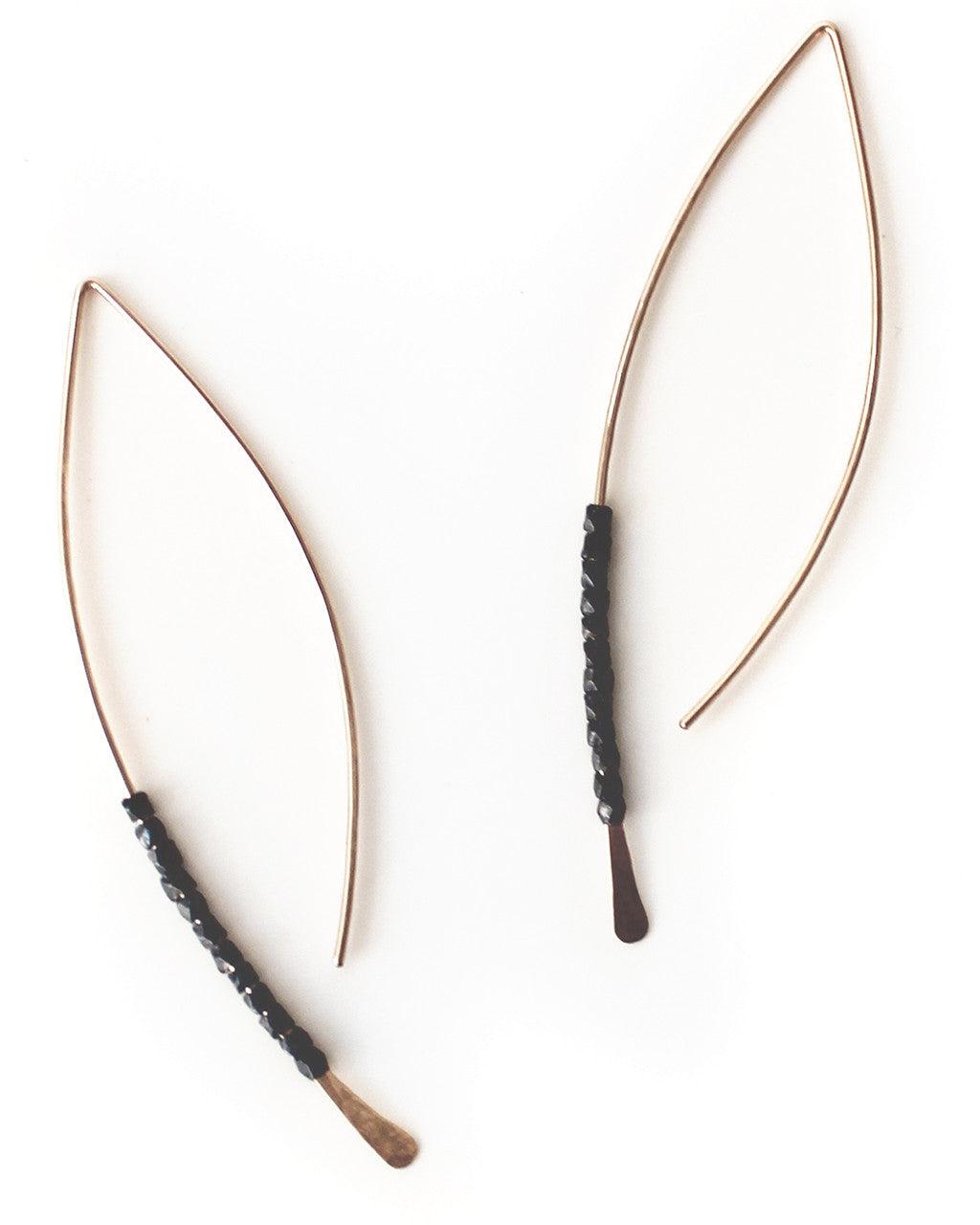 Faceted Bead Crescent Earrings