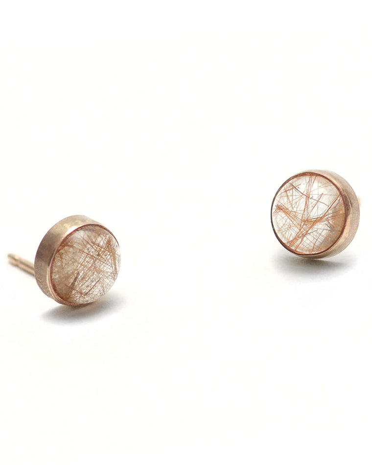 Copper Rutilated Quartz Gumdrop Stud Earrings