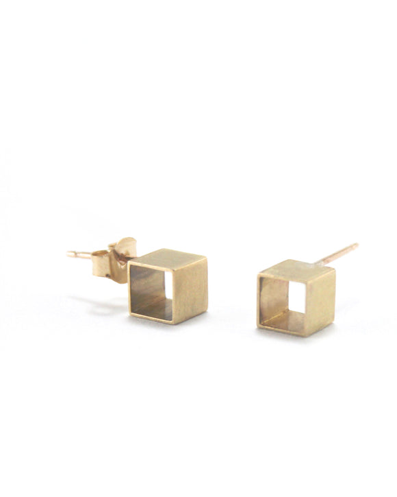 Geometric Cube Stud Earrings | Anya Weitzman
